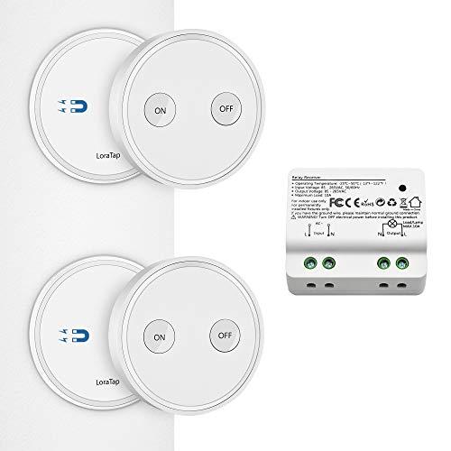 Kit de Interruptor de Luces Inalámbricas, LoraTap 2 Piezas Interruptor Inalámbrico +...