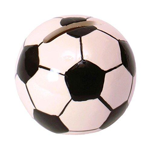 Fussball Spardose aus Keramik - Fußball Sparschwein Sparbüchse Ball