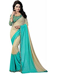 Ishin Women's Faux Georgette Saree With Blouse Piece (Swaya-Paddingrama_Beige & Blue)
