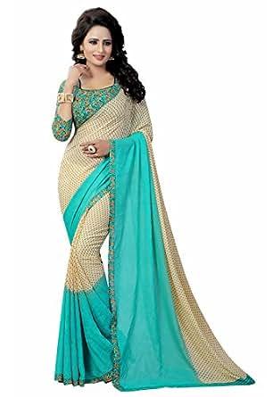 Ishin Georgette Saree with Blouse Piece (Swaya-PaddingRama_Green_Free Size)