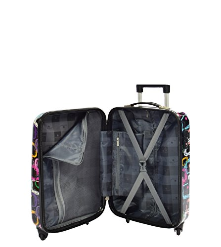 Printed Suitcase 4 Wheel ABS Luggage TSA Lock, Black Squares