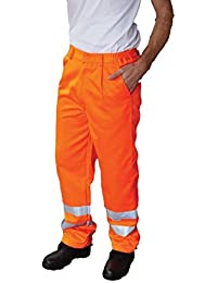 Yoko Hi-Vis Polycotton Work Trouser (Regular) Hi Vis Mens Workwear Gents Bottom