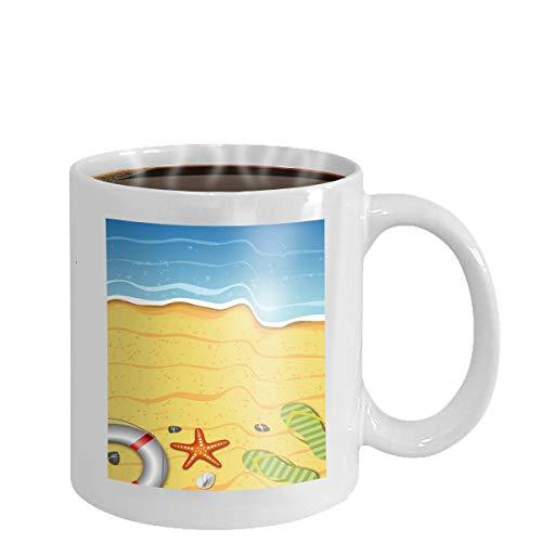 Coffee cup mug summer beach abstract background bright shiny sun rays sea ocean waves tropical beach summer vacation concept 11oz