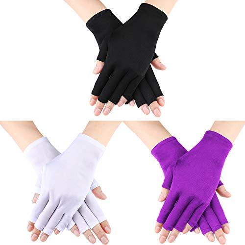 3 Paar UV Shield Handschuh Gel Maniküre Handschuh Anti UV Fingerlose Handschuhe Schützen die Hände vor UV-Licht Lampe Maniküre Trockner (Color Set 2) -
