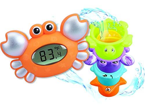 Sicherheit Baby Bad und Zimmer Digital Schwimm Thermometer Krabben Design und 4 stücke Bad Kleinkind Spielzeug für Mädchen und Jungen, Orange Krabbe