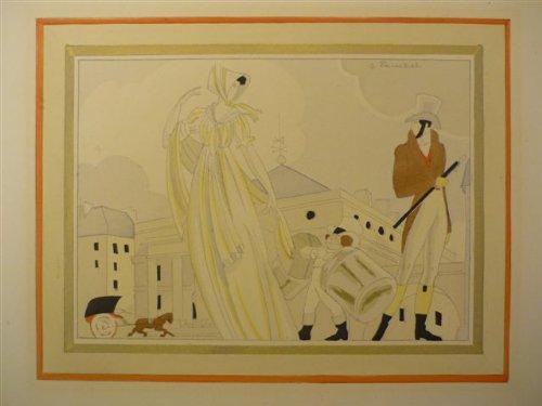(Paar im Hutgeschäft). Kolor. Lithogr. Um 1925. 21,5 x 28 cm. Im Bild bez. \'J. Zouchet\'.
