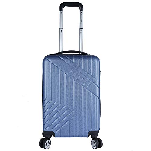 Fly Eco Fly Ace 58 Cms Polycarbonate Hardsided Blue Cabin Luggage 4 Wheels Suitcase Trolley Bags for Travel
