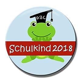 Polarkind-Button-Pin-Anstecker-Schulkind-2018-Frosch-zum-Schulanfang-38mm-handmade
