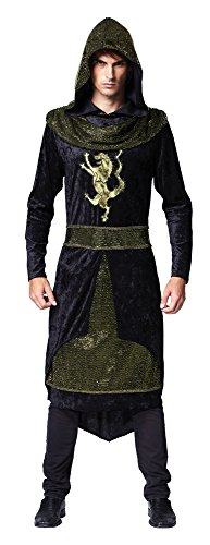 ADULT MENS MEDIEVAL PRINCE HOODED ROBE OUTFIT FANCY (Man Magic Kostüm)