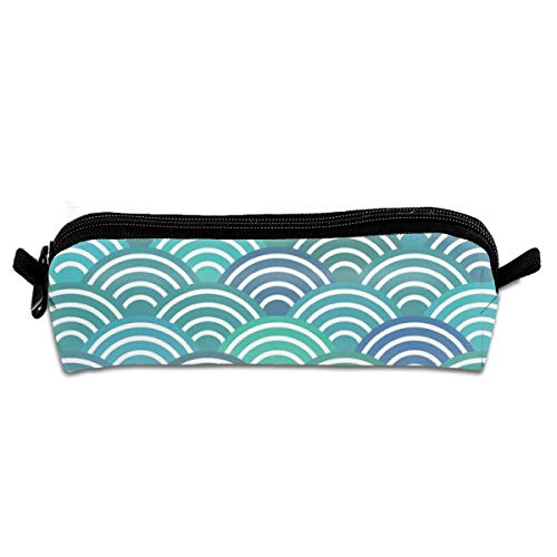 Mermaid Tails Waves Sea Ocean Abstract Geometric Japanese Asian Pettern Aqua Blue Turquoise Pencil Pouch Bag Stationery Pen Case Makeup Box with Zipper Closure 21 X 5.5 X 5 cm