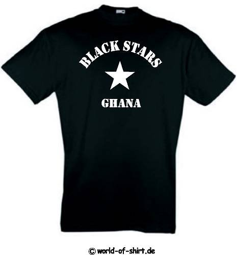 world-of-shirt Herren T-Shirt Ghana Black Stars im Trikot Look stern