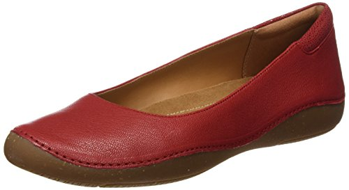 Clarks Damen Autumn Sun Ballet Flats, Rot (Red Leather), 42 EU (Flat Ballet Red)