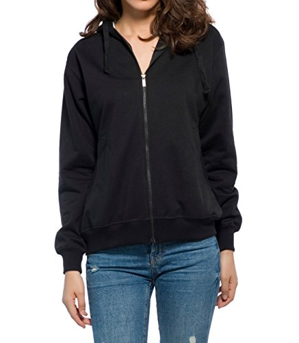 Alan Jones Clothing Women's Cotton Full Sleeve Solid Sweatshirt (Black, Medium)