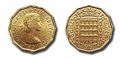 Pièces pour les collectionneurs - 2 x 1967 Trois pièces de penny - Coin état de collection / quat'sous bits