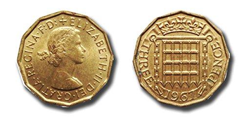 Münzen für Sammler - 2 x 1967 Drei Cent Stück - Handgehoben sammelwürdiger Zustand / Dreigroschen Bit (Münze Umschläge 2x2)