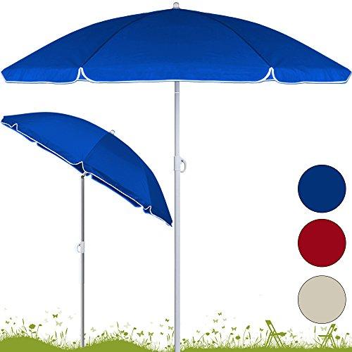 Sonnenschirm höhenverstellbar mit Neigefunktion 200cm rot - Strandschirm Marktschirm Gartenschirm
