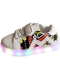 hibote Muchachos del niño de las muchachas Zapatos enciende para arriba las zapatillas de deporte del deporte LED blanco 23