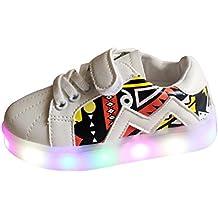 hibote Muchachos del niño de las muchachas Zapatos enciende para arriba las zapatillas de deporte del deporte LED blanco 22