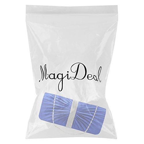 MagiDeal Borsa Donne Elegante per Partito Cerimonia Nuziale Matrimonio Cristallo Raso Plissettato Sera Pochette da Giorno - #3 #4