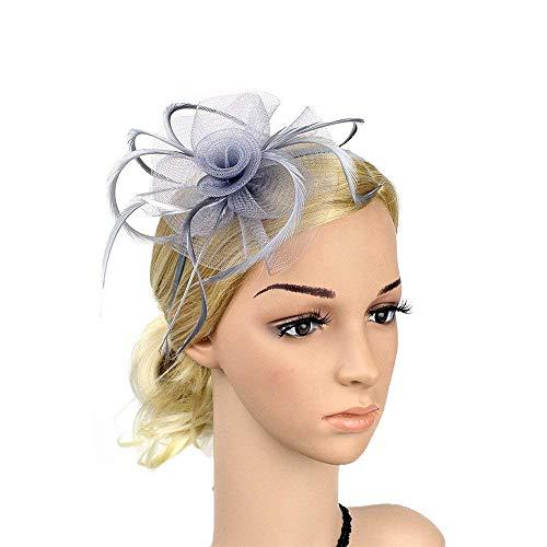Shuo lan Frauen Elegante Headwear Blumen Mesh Feder Haarspange Fascinator Braut Haarband Hut Für Damen Hochzeit Cocktail Tea Party (Farbe : Grey)