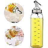 Distributeur d'huile d'olive - 500 ml bouteille d'huile en verre sans plomb pour huile d'olive végétale, bouteille d'huile de verre sans plomb. 500ml transparent