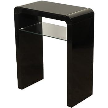 Superbe Atlanta Black Console Table With Shelf   Black Gloss Hall Table For Hallway  With Glass Shelf