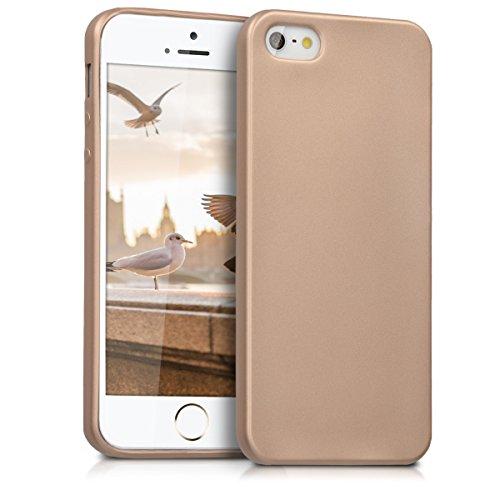 kwmobile Hülle für Apple iPhone SE / 5 / 5S - TPU Silikon Backcover Case Handy Schutzhülle - Cover Metallic Rosegold .Metallic Gold
