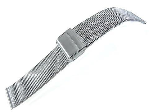 22mm Stainless Steel Watch Mesh Bracelet Wristband 0.5mm Wire silver black rose gold titanium (Titanium)