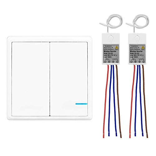 Lichtschalter Set, Thinkbee 2 Taste Funkschalter mit Empfänger Wasserdichter Wireless Lichtschalter Fernbedienung bis zu 600m Kontrollierte Geräte bis 1000W Einfache Installation, -30 ~ +75℃