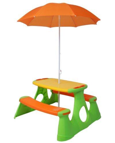 Picknicktisch, Kindersitzgarnitur, Kindersitzgruppe, Kinderbank mit Sonnenschirm