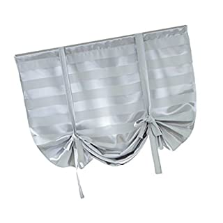 D DOLITY Beauty Blackout Roman Curtain Voile - Tie Up Silk Ribbon Shade - Window Valance Drape Blind for Small Window, Kitchen Bedroom with Back Tab/Rod Pocket - Grey