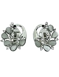 151860794 Clip On Earrings Store Silver Crystal and Frosted Peacock Clip On Earrings