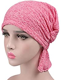 Mujeres Pañuelo Musulmán, Tukistore Damas Cáncer Quimio Higiene Alopecia Sombrero de Maquillaje Suave de Algodón