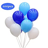 Shengchu Latex Balloons,12-inch,100-pack,pearl white and blue and light blue