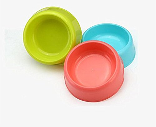 Vikenner Round Pet Dog Cat Plastic Bowl Durable Food Drink Feeder Bowl Candy Colors Feeding Dish Bowl(Blue) 9
