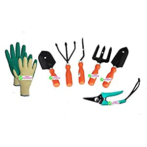 Easy Gardening – 701 – Garden Tools Kit (6Tools) + Knit Gardening Gloves – Weeder,Trowel Big,Trowel Small,Cultivator,Fork, Pruner