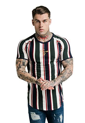 Sik Silk Herren T-Shirt S/S Rotary Stripe Raglan Gym Tee Mehrfarbig Off White/Green/Navy, Größe:XXL - Stripe Silk Shirt