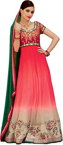 Exotic India Pink and Cream Double-Shaded Wedding Anarkali Suit with Floral-Embroidery and CrystalsGarment Size 40