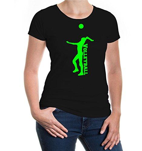 buXsbaum® Damen Kurzarm Girlie T-Shirt bedruckt Volleyball V2 | Mannschaft Ballsport Team | XS black-neongreen Schwarz