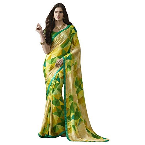 Triveni Crepe Saree With Blouse Piece (Tsn1113_Yellow_Free Size)