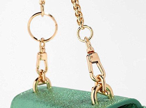 FZHLY Mini Catena Nuova Signora Estate Bag Laser Personalizzata Piccola Piazza Borsa,BrightGold FashionRoseRed