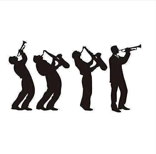 QThxqa musik Gruppe Kunst Design 4 MusikerAufkleber Für Kinderzimmer Jungen Spielen Saxophon SilhouetteDecals Home Decor80 * 43 Cm (Gruppe Designs Für Halloween)