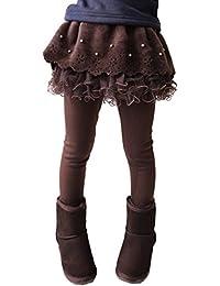 Leggings Muchachas Calientes - Delgados Gruesos Legging Invierno Otoño Pantalones Danza Leggings Largos Con Mini Falda Para 2-13 Años Café Azul Marino Rose Rojo Yying