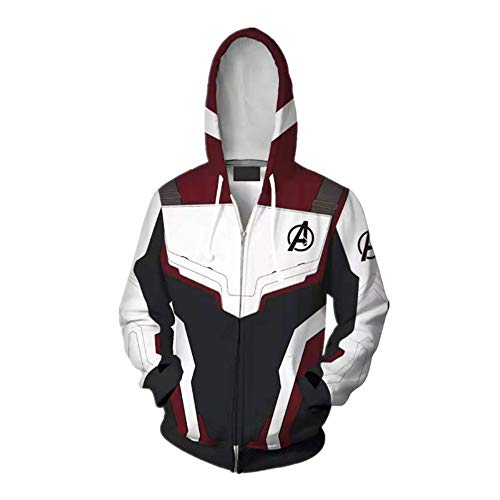 Hoodie Weiß-kleidung (Kapuzenpullover,Marvel Avengers Iron Man 3D-Druck Reißverschluss Spezielle Neuheit Kleidung Pullover Hoodie,S,Weiß Rot)