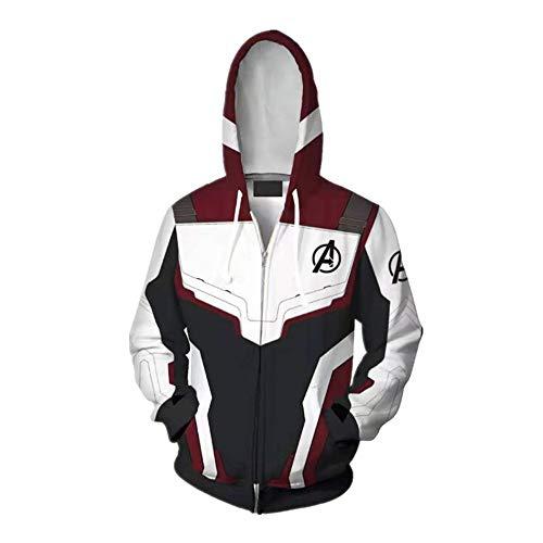 Kapuzenpullover,Marvel Avengers Iron Man 3D-Druck Reißverschluss Spezielle Neuheit Kleidung Pullover Hoodie,M,Weiß Rot