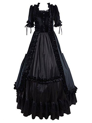hes viktorianisches Kleid Gothic Lolita Schwarz und Königsblau Samtkleid (Schwarz, XL) (Billige Maskerade Kleider)