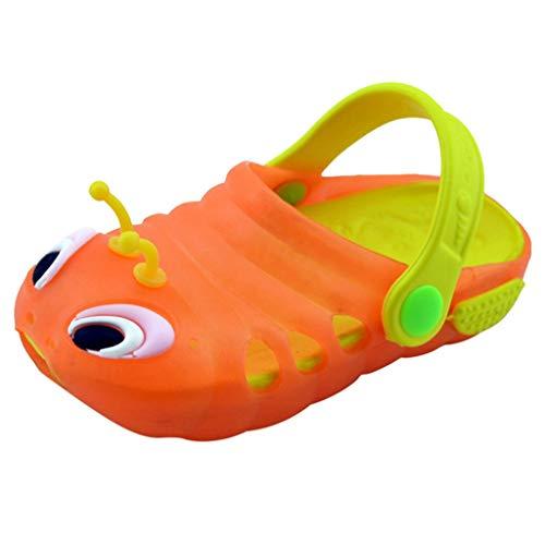 len und Hausschuhe Raupe rutschfeste Hausschuhe Baby Babyschuhe zurück mit Sandalen Baotou niedlichen Garten Schuhe Mode Strand Schuhe Fußschuhe (24, Orange) ()