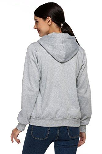 ZEARO Damen Hoodies Sport Jacke Mantel Trainingsjacke Sweatshirt Pullover Kapuzenpullover Shirt Grau