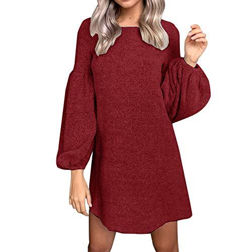 (Elecenty Bandage Strickkleid Damen,Reizvolle Frauen Kleider Minikleid Laternenhülse Langarmkleid Solide Abendkleid Winter Herbstkleid Hochzeitskleider Partykleid (EU-38/CN-XL, Wein 2))