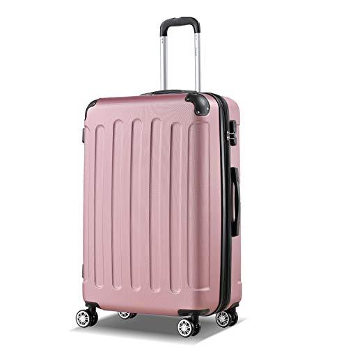 Flexot 2045 Koffer - Farbe Rosa (Pink) Größe XL Hartschalen-Koffer Trolley Rollkoffer Reisekoffer 4 Rollen